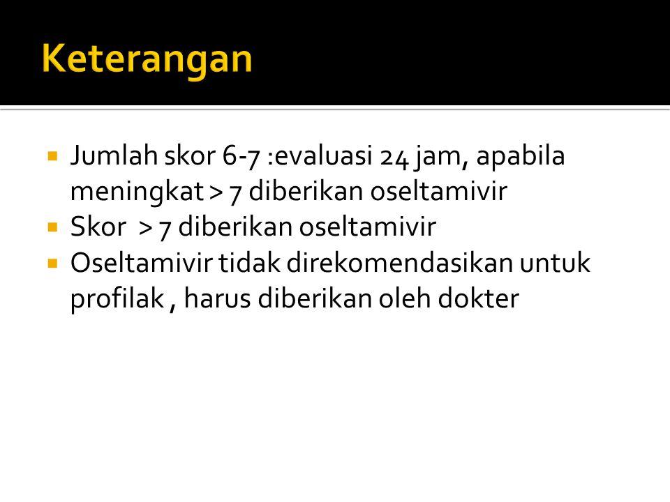 Keterangan Jumlah skor 6-7 :evaluasi 24 jam, apabila meningkat > 7 diberikan oseltamivir. Skor > 7 diberikan oseltamivir.
