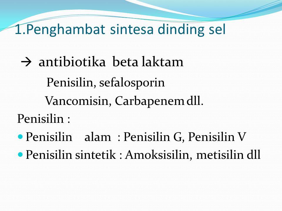 1.Penghambat sintesa dinding sel