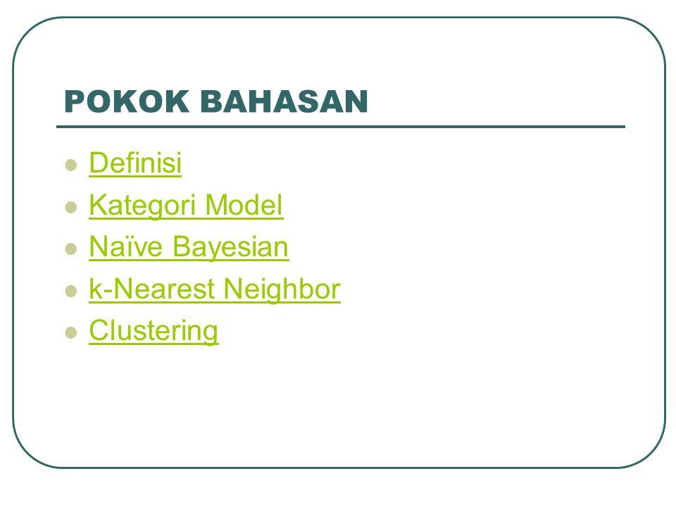 POKOK BAHASAN Definisi Kategori Model Naïve Bayesian