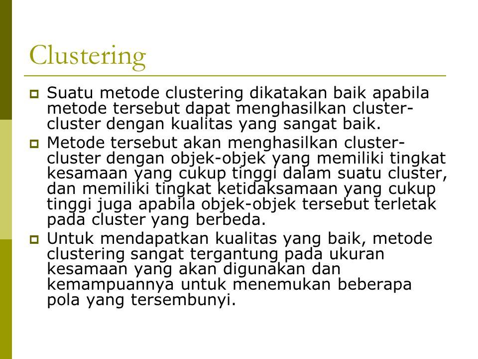 Clustering Suatu metode clustering dikatakan baik apabila metode tersebut dapat menghasilkan cluster-cluster dengan kualitas yang sangat baik.