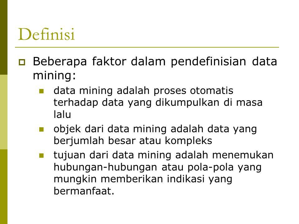 Definisi Beberapa faktor dalam pendefinisian data mining: