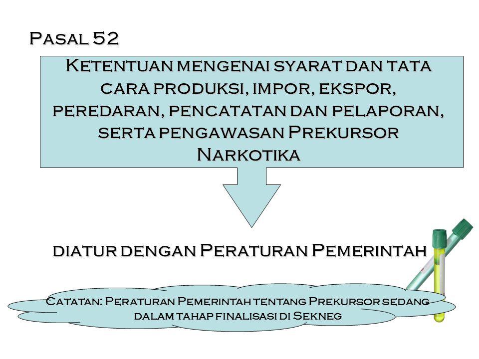 Pasal 52 Ketentuan mengenai syarat dan tata cara produksi, impor, ekspor, peredaran, pencatatan dan pelaporan, serta pengawasan Prekursor Narkotika diatur dengan Peraturan Pemerintah