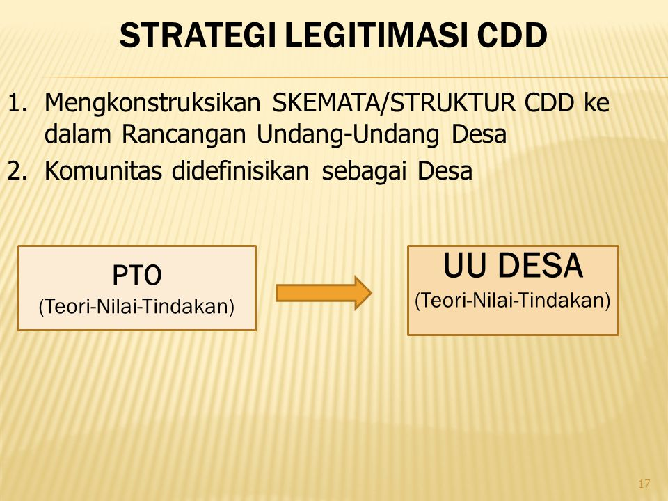 Strategi legitimasi cdd
