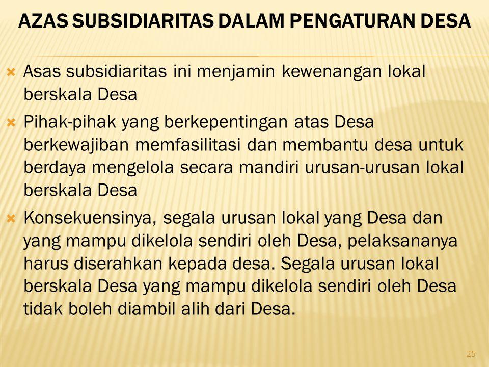 Azas subsidiaritas dalam pengaturan desa
