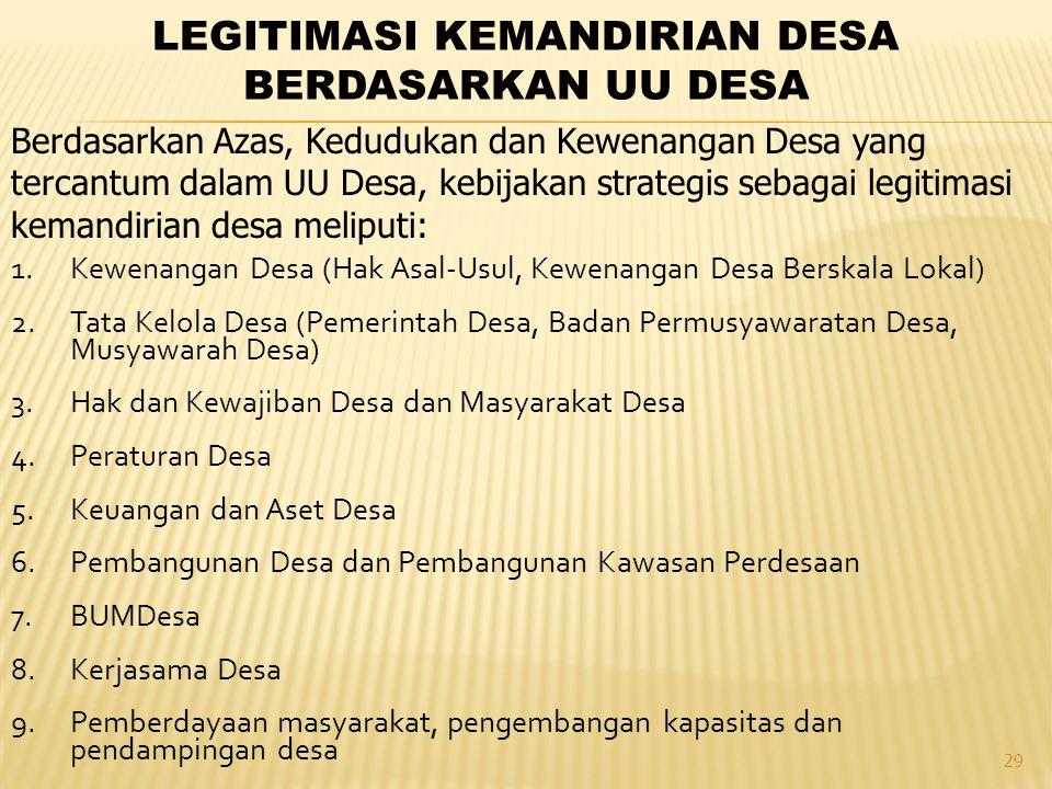 LEGITIMASI KEMANDIRIAN DESA BERDASARKAN UU DESA
