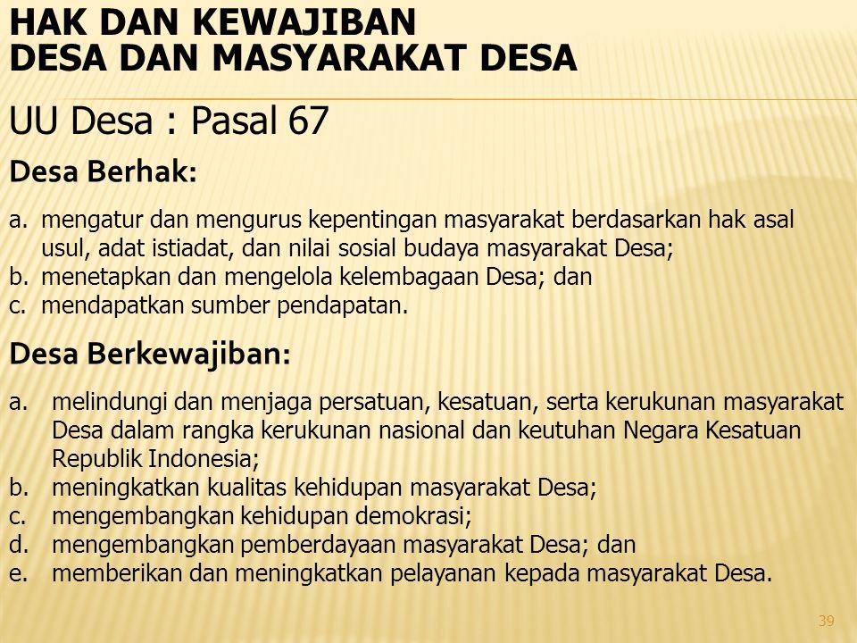 UU Desa : Pasal 67 HAK DAN KEWAJIBAN DESA DAN MASYARAKAT DESA