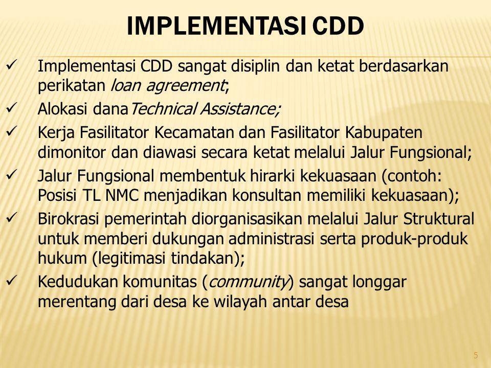 implementasi cdd Implementasi CDD sangat disiplin dan ketat berdasarkan perikatan loan agreement; Alokasi danaTechnical Assistance;