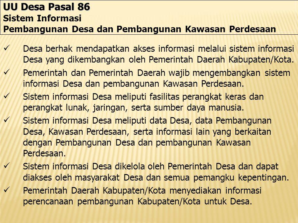 UU Desa Pasal 86 Sistem Informasi