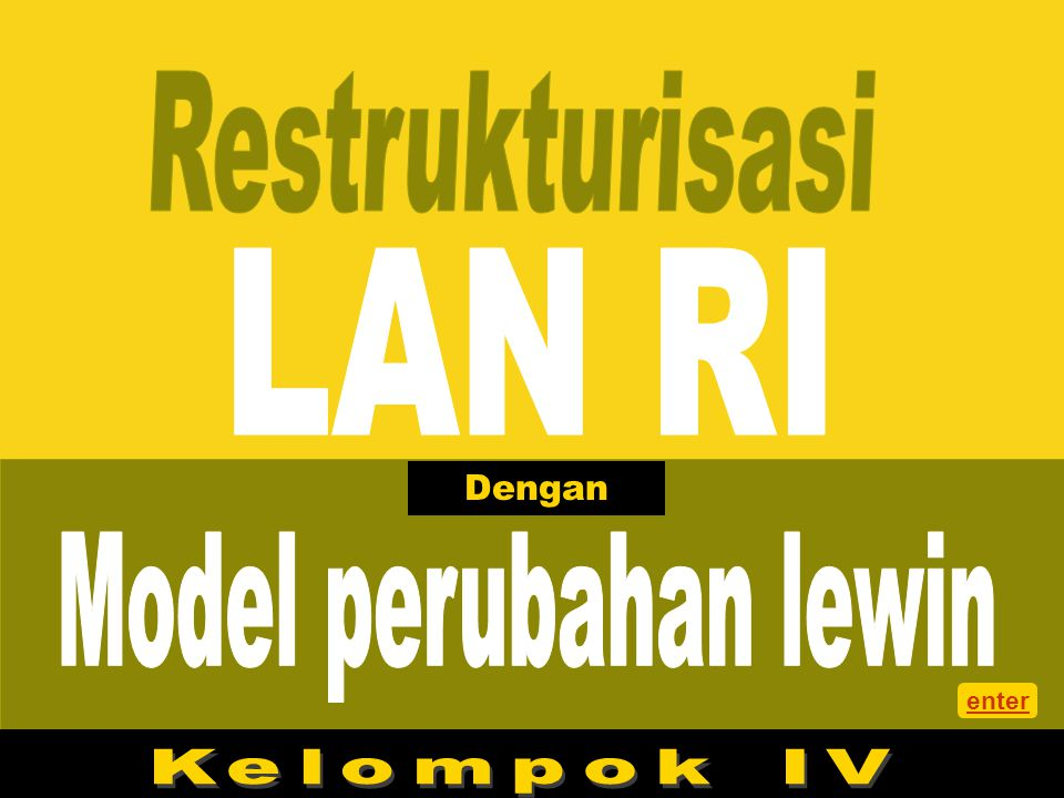 Restrukturisasi LAN RI Dengan Model perubahan lewin enter Kelompok IV