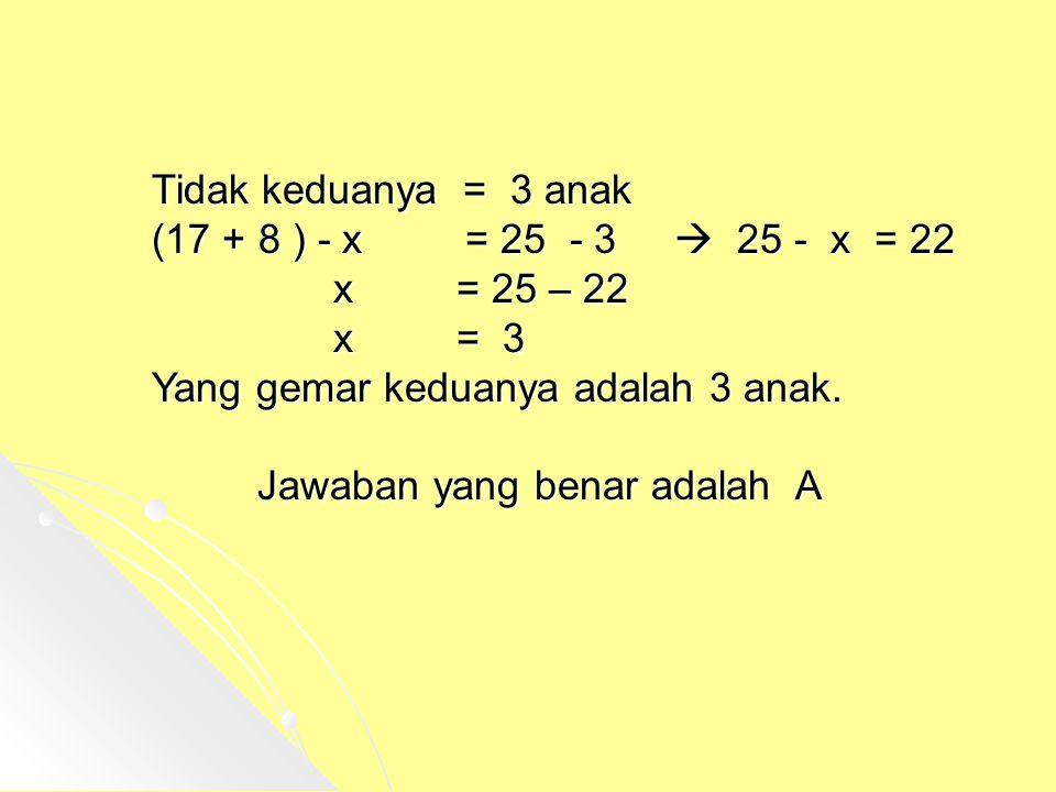 Tidak keduanya = 3 anak (17 + 8 ) - x = 25 - 3  25 - x = 22. x = 25 – 22.