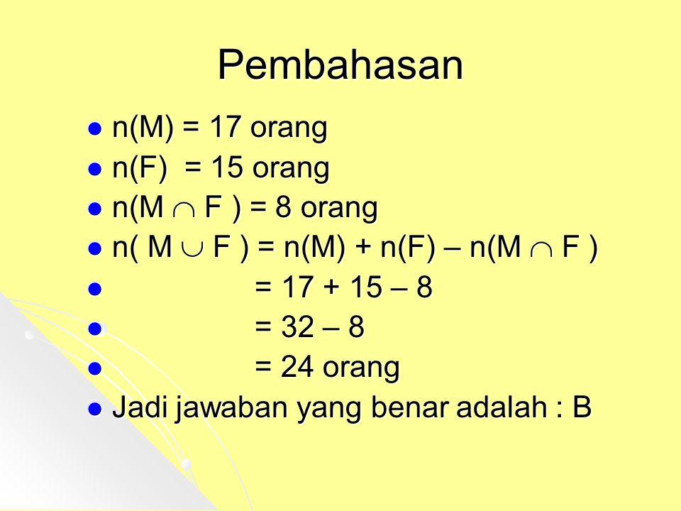 Pembahasan n(M) = 17 orang n(F) = 15 orang n(M  F ) = 8 orang