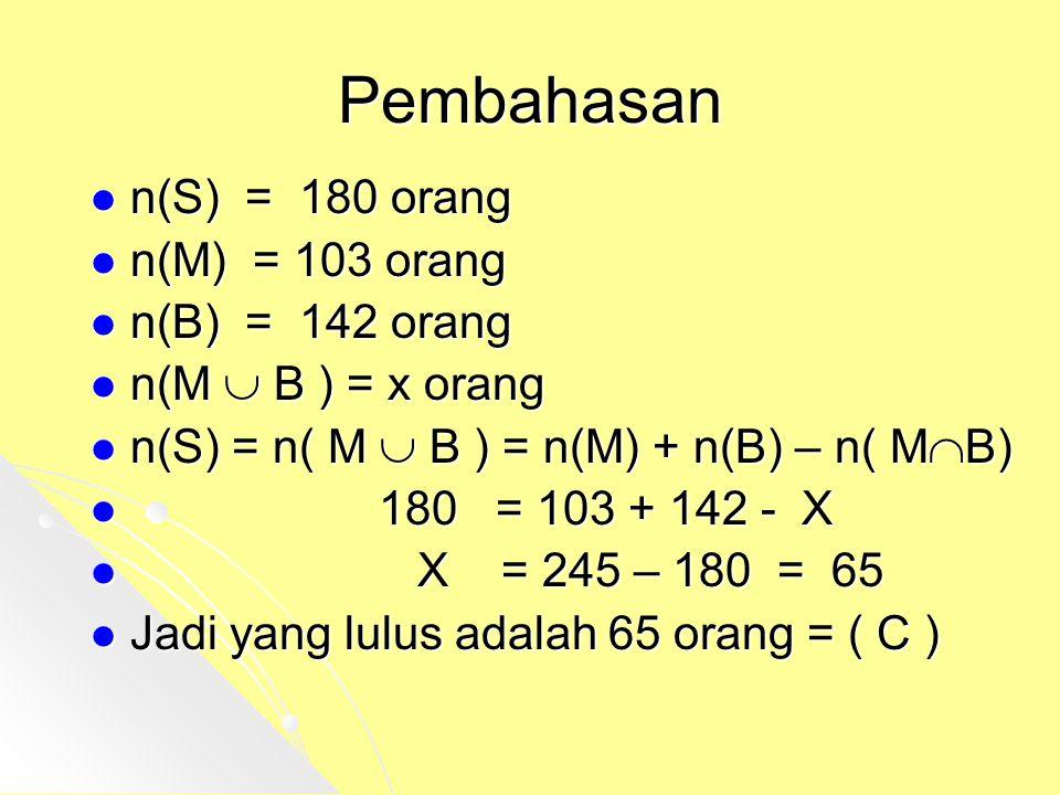 Pembahasan n(S) = 180 orang n(M) = 103 orang n(B) = 142 orang
