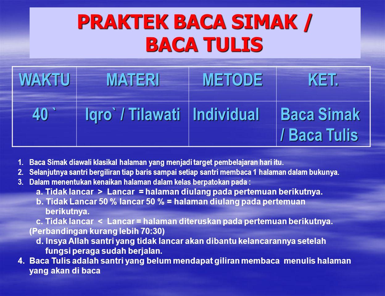 PRAKTEK BACA SIMAK / BACA TULIS