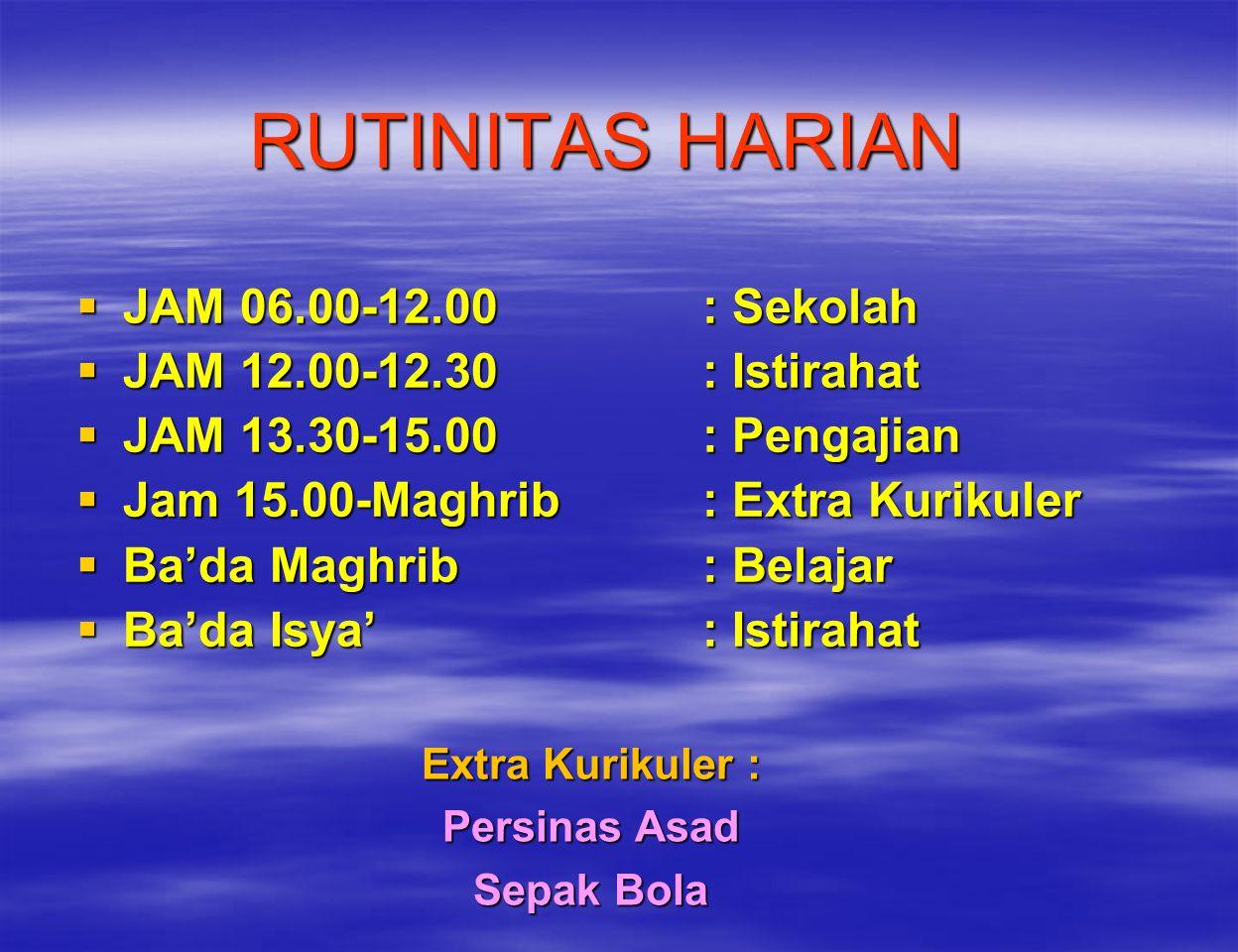 RUTINITAS HARIAN JAM 06.00-12.00 : Sekolah JAM 12.00-12.30 : Istirahat
