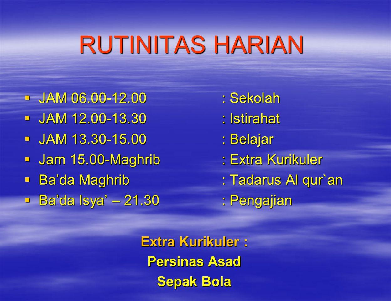 RUTINITAS HARIAN JAM 06.00-12.00 : Sekolah JAM 12.00-13.30 : Istirahat
