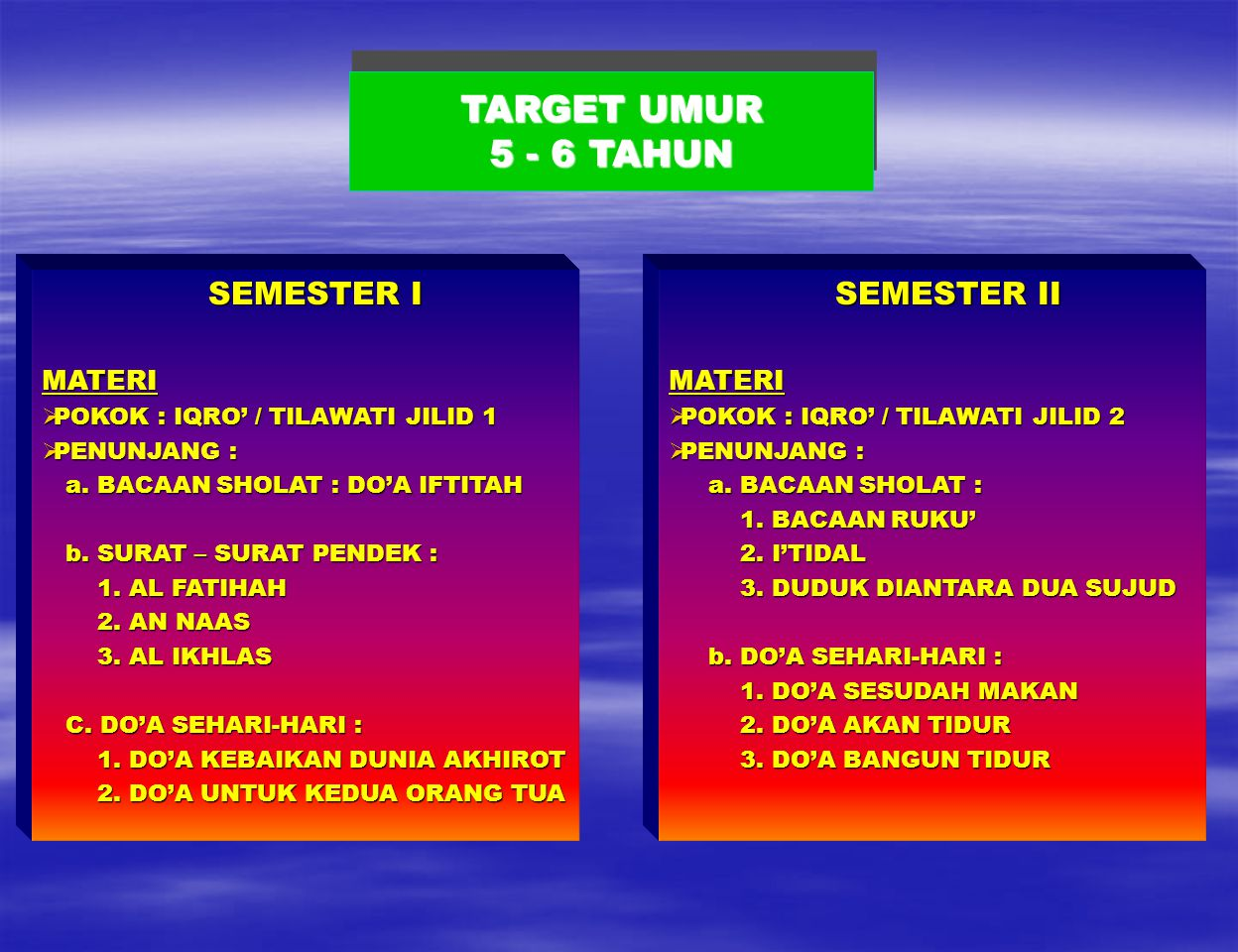 TARGET UMUR 5 - 6 TAHUN SEMESTER I MATERI SEMESTER II MATERI