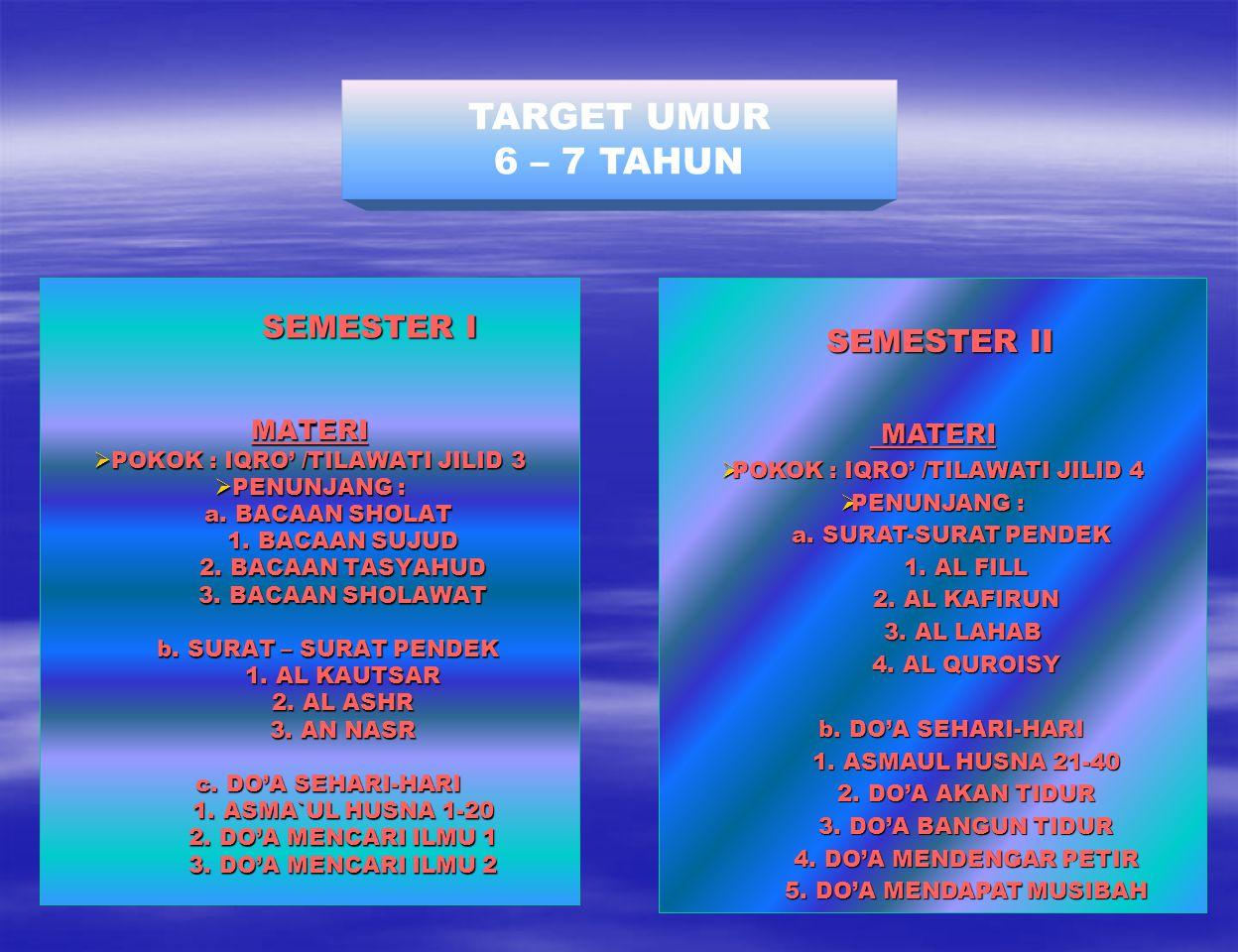 TARGET UMUR 6 – 7 TAHUN MATERI SEMESTER II MATERI SEMESTER I