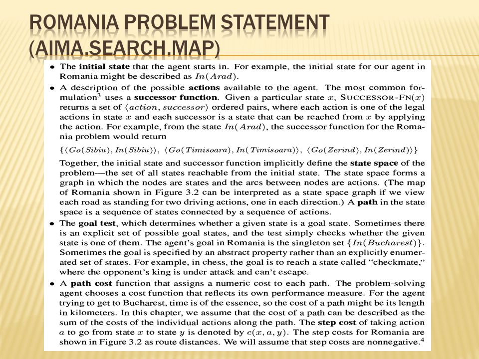 Romania problem statement (aima.search.map)