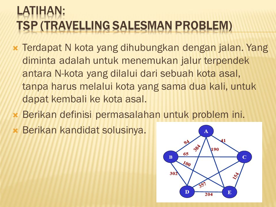 Latihan: TSP (travelling salesman problem)