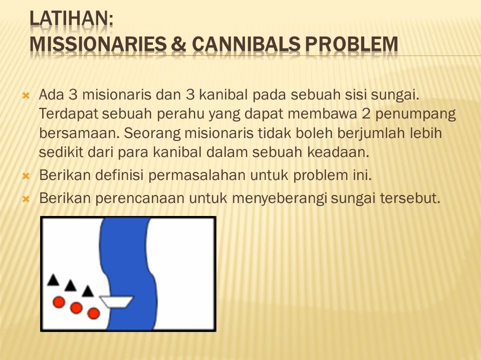 Latihan: Missionaries & Cannibals problem