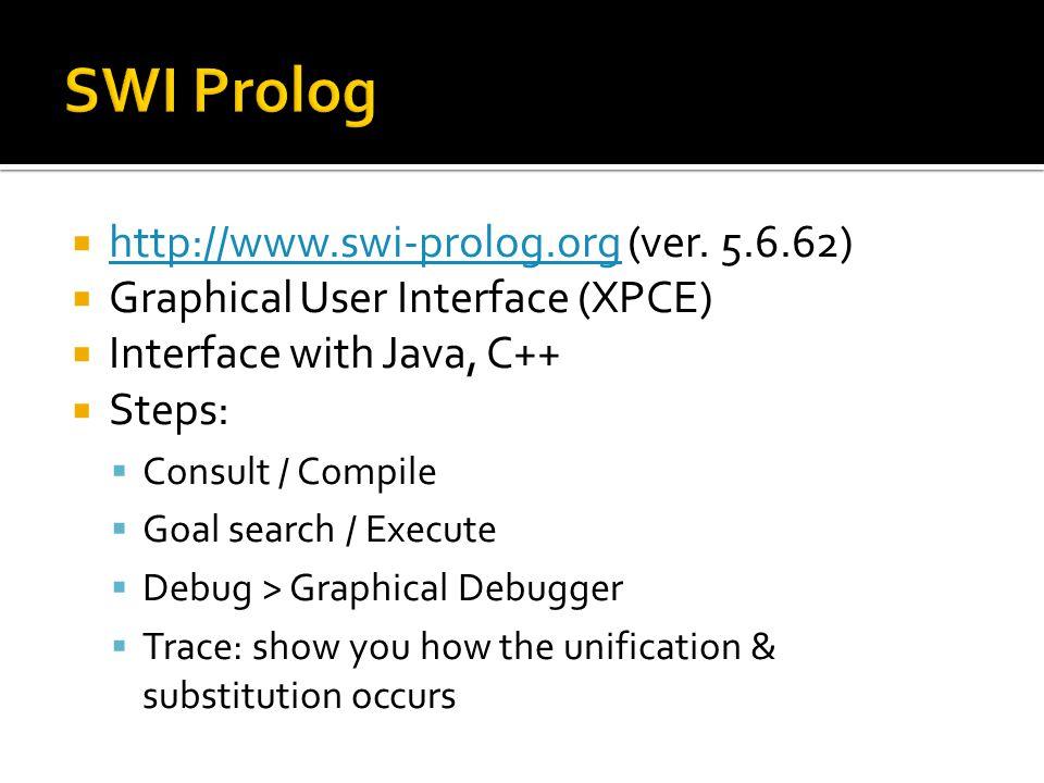 SWI Prolog http://www.swi-prolog.org (ver. 5.6.62)