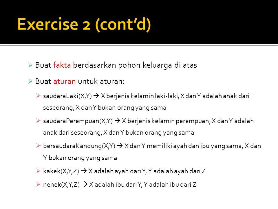 Exercise 2 (cont'd) Buat fakta berdasarkan pohon keluarga di atas