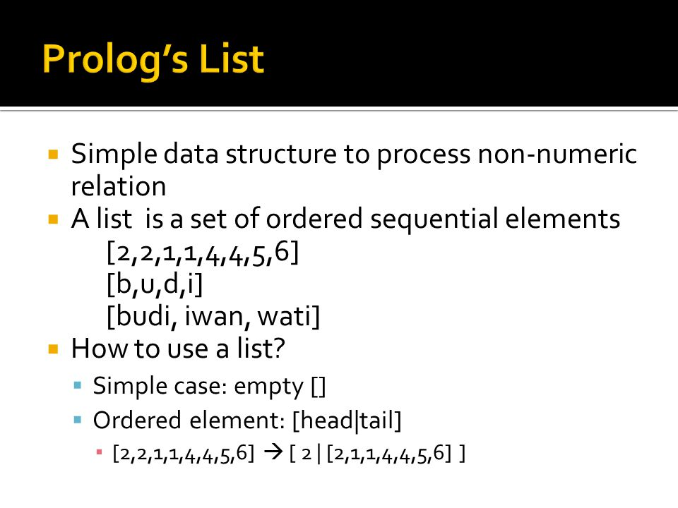 Prolog's List Simple data structure to process non-numeric relation