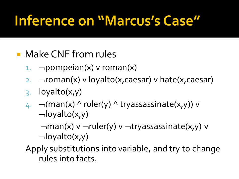 Inference on Marcus's Case