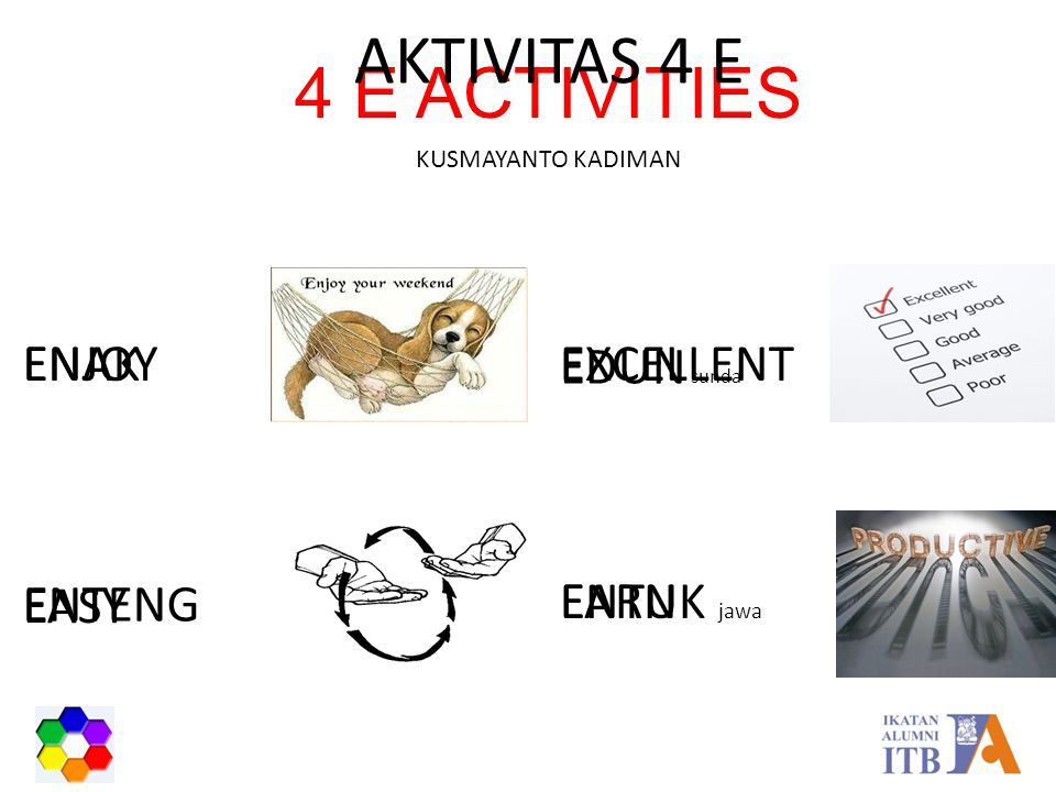 AKTIVITAS 4 E 4 E ACTIVITIES ENAK ENJOY EXCELLENT EDUN sunda ENTENG
