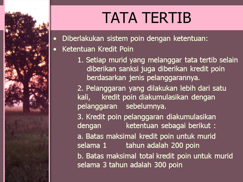 TATA TERTIB Diberlakukan sistem poin dengan ketentuan: