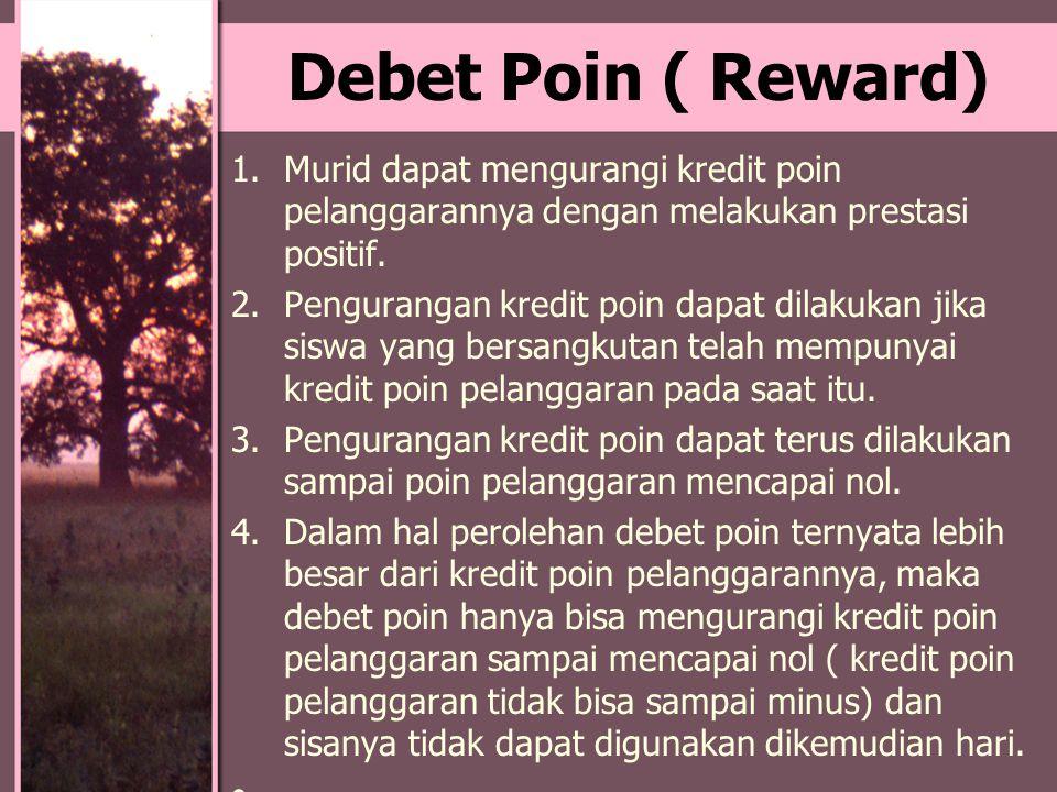 Debet Poin ( Reward) Murid dapat mengurangi kredit poin pelanggarannya dengan melakukan prestasi positif.