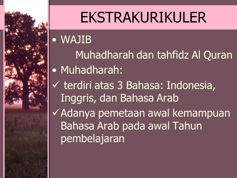 EKSTRAKURIKULER WAJIB Muhadharah dan tahfidz Al Quran Muhadharah:
