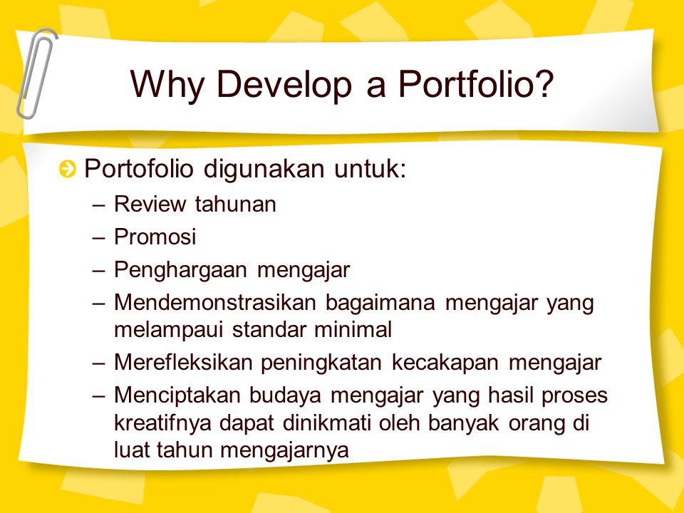 Why Develop a Portfolio