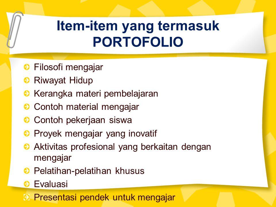 Item-item yang termasuk PORTOFOLIO