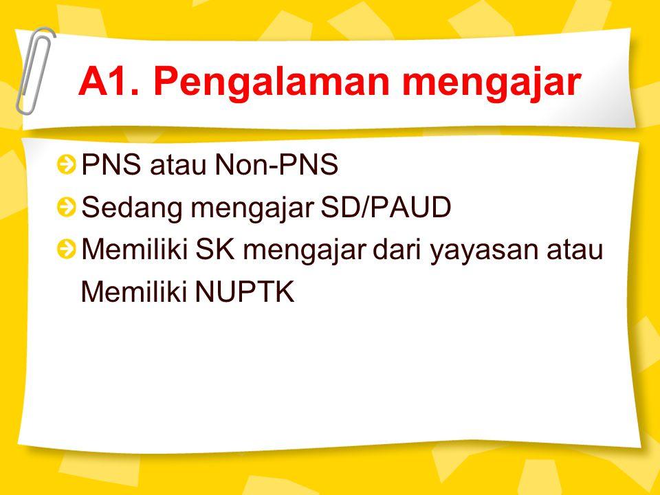 A1. Pengalaman mengajar PNS atau Non-PNS Sedang mengajar SD/PAUD