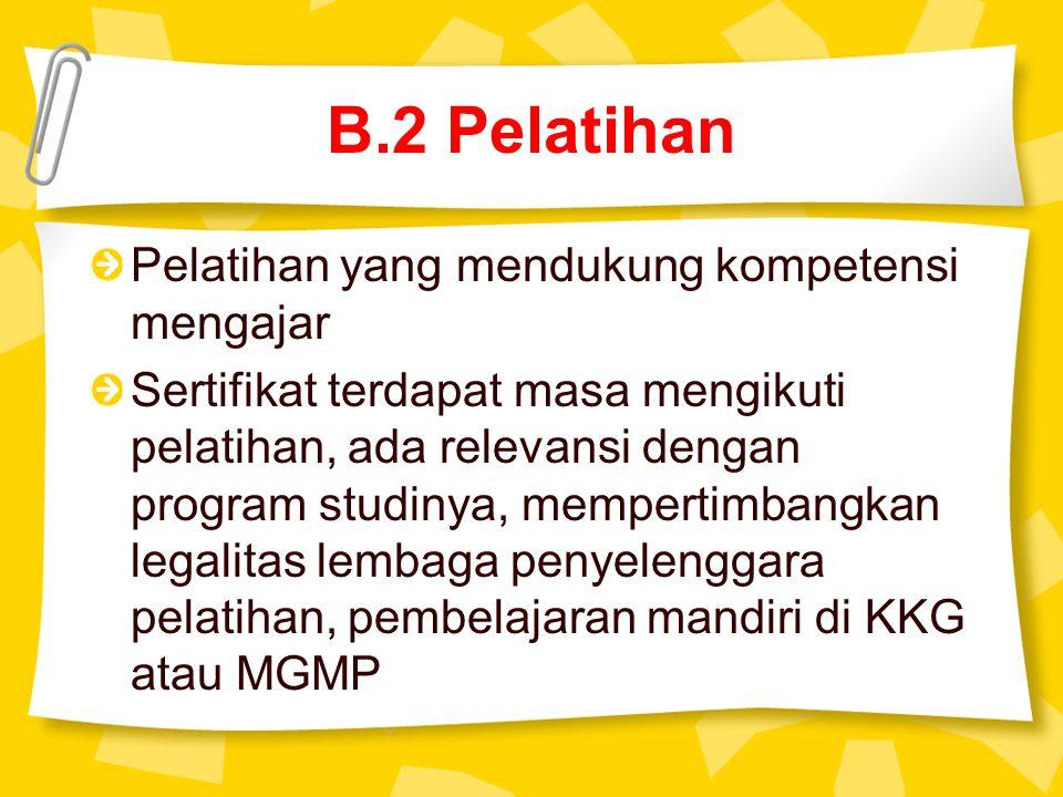 B.2 Pelatihan Pelatihan yang mendukung kompetensi mengajar