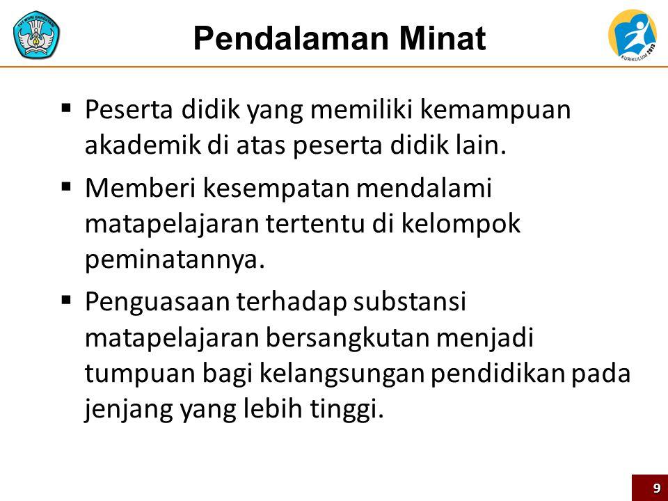 Pendalaman Minat Peserta didik yang memiliki kemampuan akademik di atas peserta didik lain.