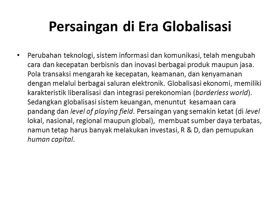 Persaingan di Era Globalisasi