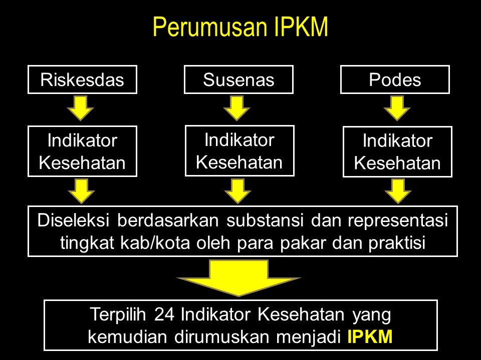 Terpilih 24 Indikator Kesehatan yang kemudian dirumuskan menjadi IPKM
