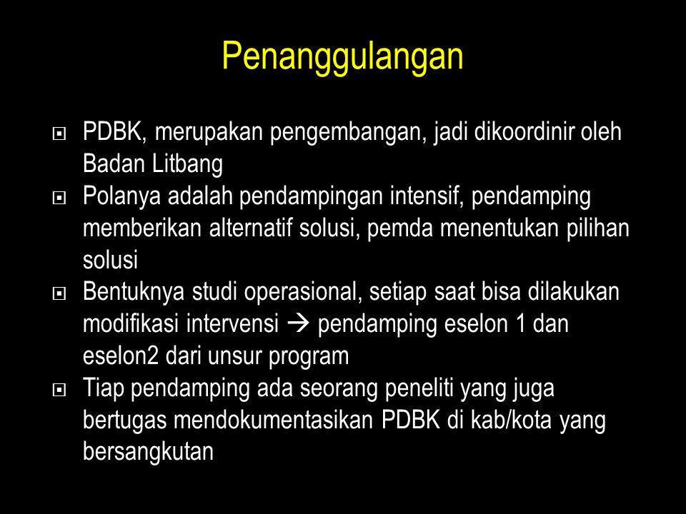 Penanggulangan PDBK, merupakan pengembangan, jadi dikoordinir oleh Badan Litbang.