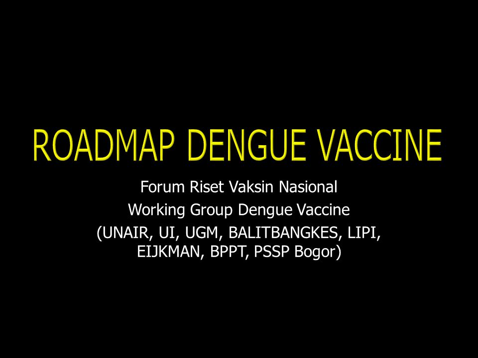 ROADMAP DENGUE VACCINE