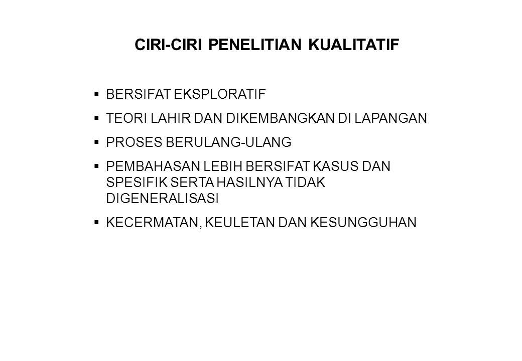 CIRI-CIRI PENELITIAN KUALITATIF
