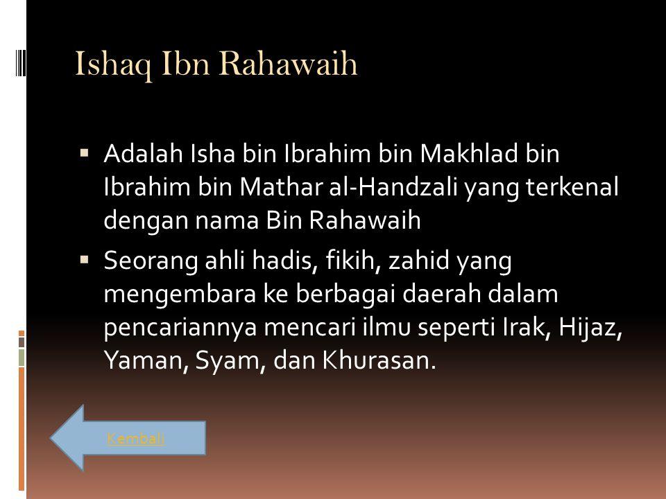Ishaq Ibn Rahawaih Adalah Isha bin Ibrahim bin Makhlad bin Ibrahim bin Mathar al-Handzali yang terkenal dengan nama Bin Rahawaih.