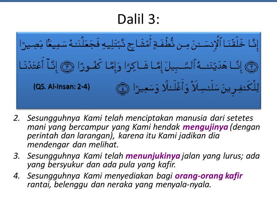 Dalil 3: (QS. Al-Insan: 2-4)