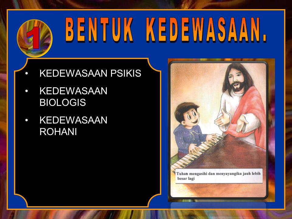 KEDEWASAAN PSIKIS KEDEWASAAN BIOLOGIS KEDEWASAAN ROHANI 1