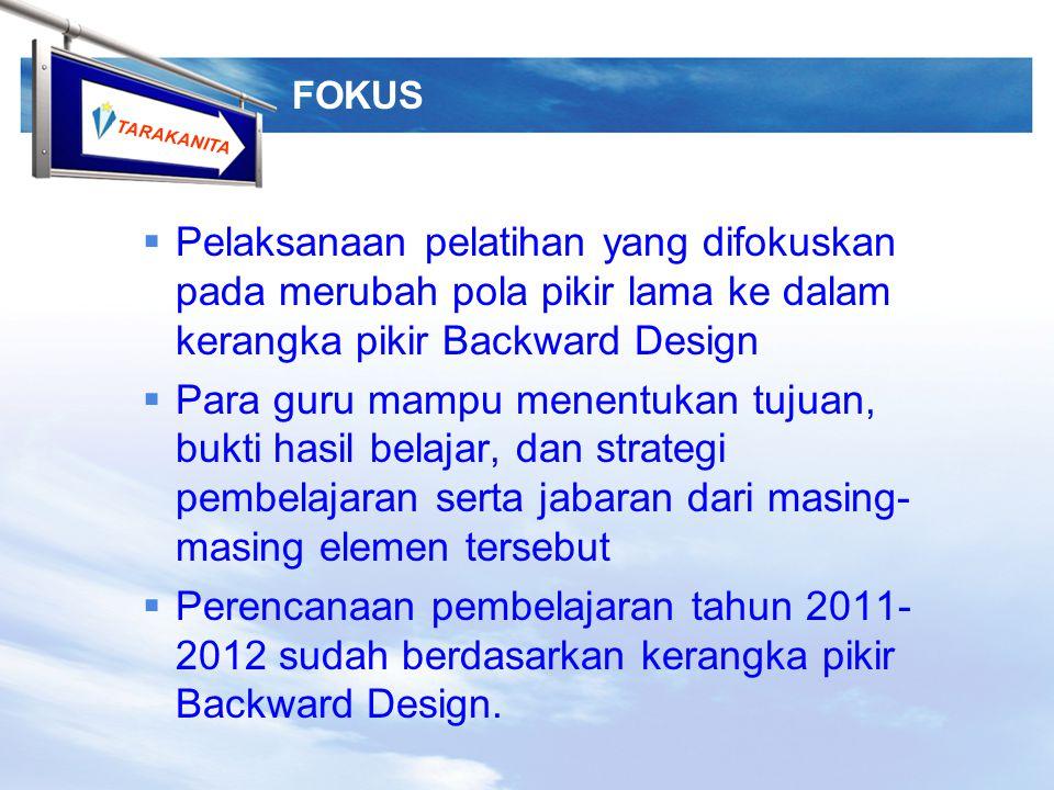 FOKUS Pelaksanaan pelatihan yang difokuskan pada merubah pola pikir lama ke dalam kerangka pikir Backward Design.