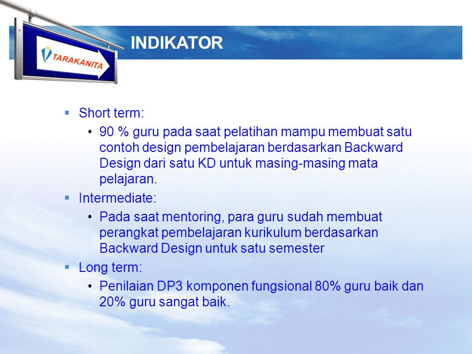 INDIKATOR Short term: