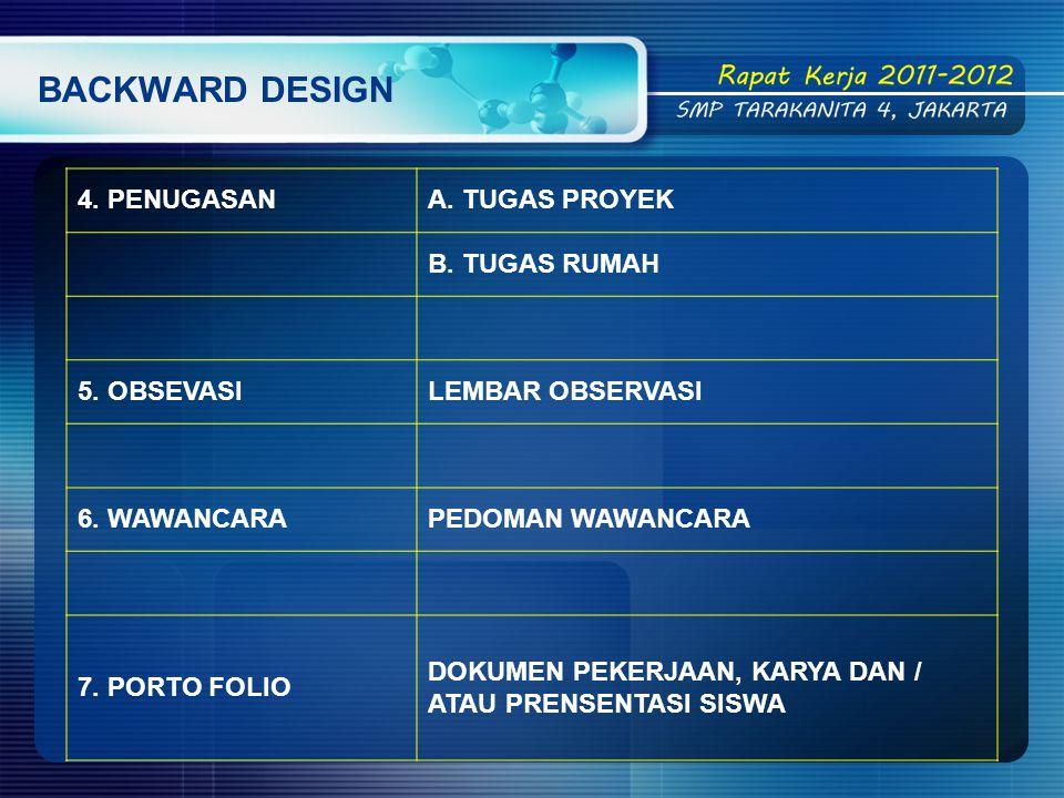 BACKWARD DESIGN 4. PENUGASAN A. TUGAS PROYEK B. TUGAS RUMAH