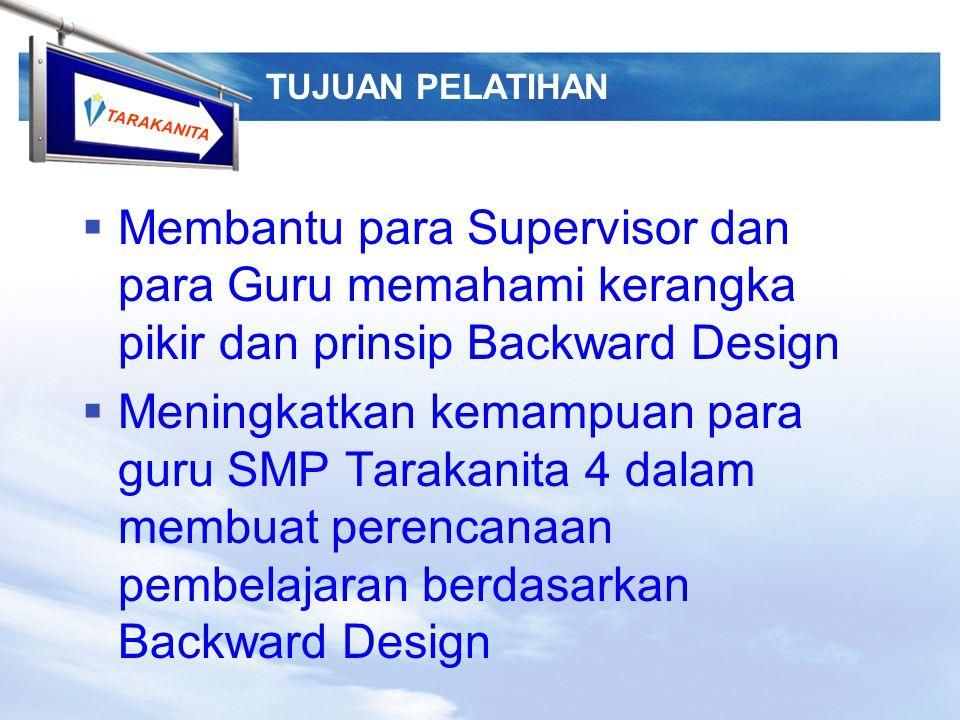 TUJUAN PELATIHAN Membantu para Supervisor dan para Guru memahami kerangka pikir dan prinsip Backward Design.