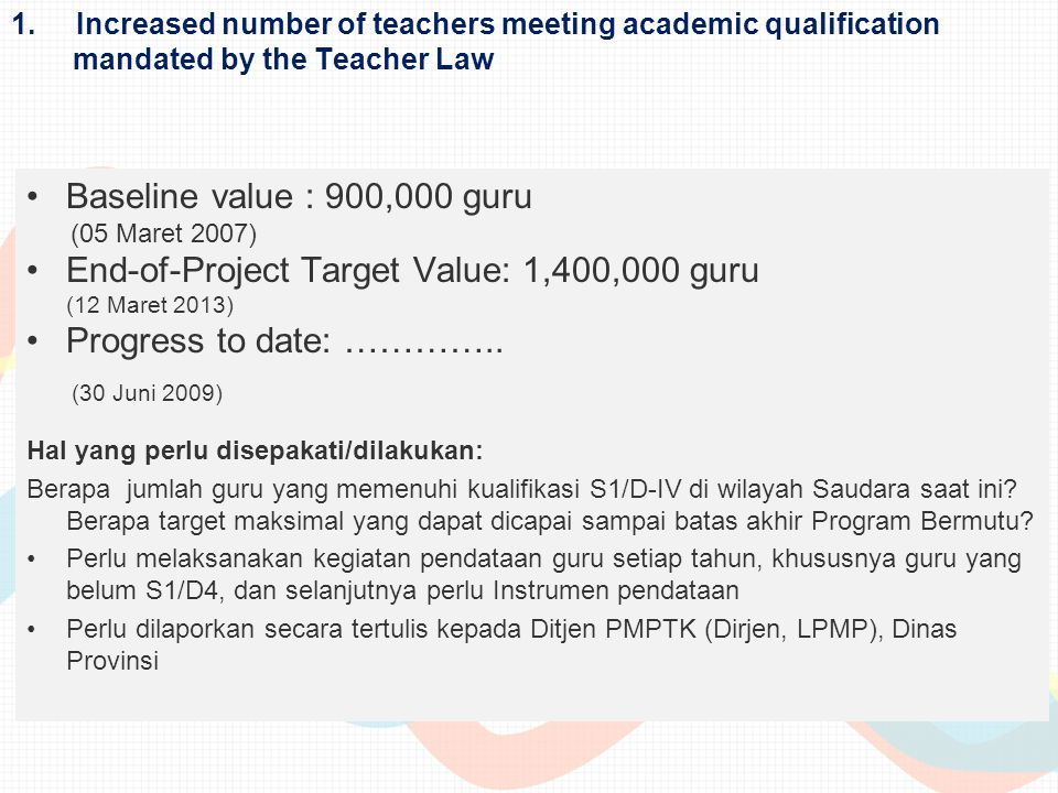 (30 Juni 2009) Baseline value : 900,000 guru